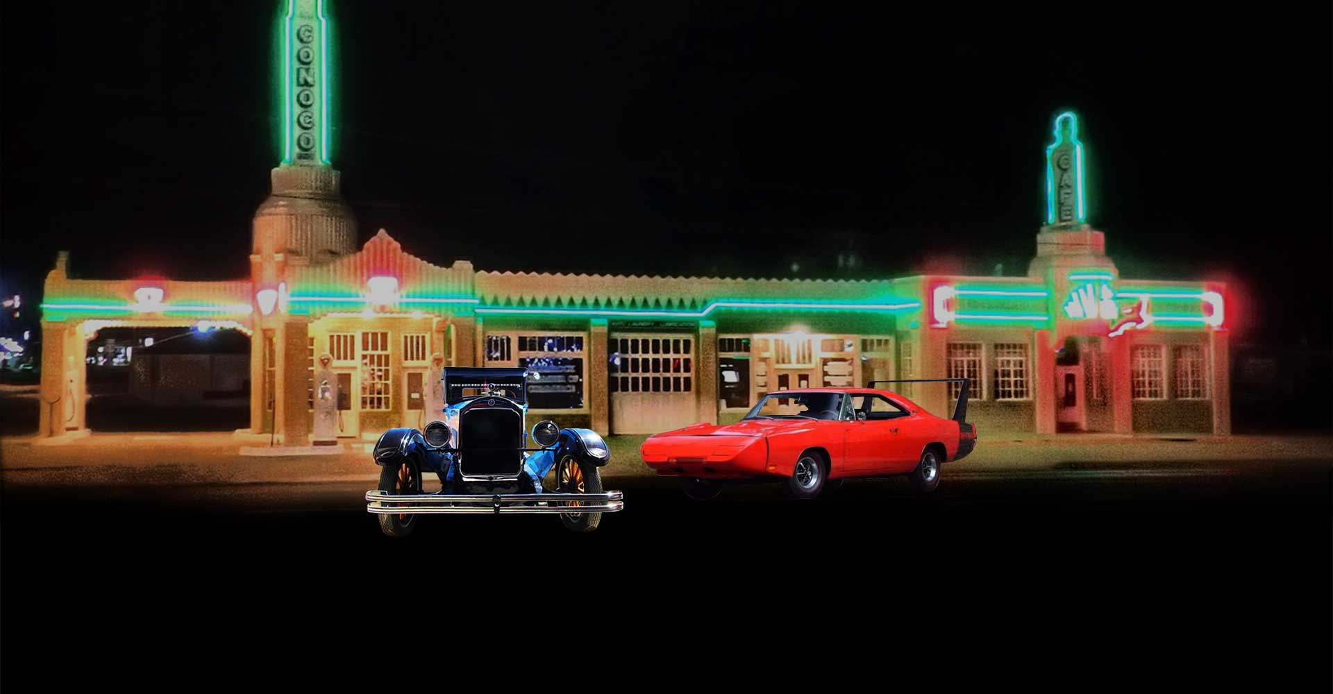 Classic Cars at Old Gas Station